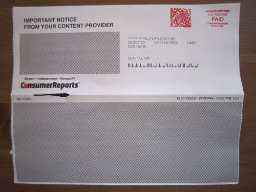 Official-looking notice from Consumer Reports