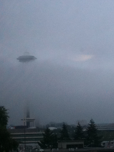 Marine flow: The Space Needle obscured by fog and low clouds