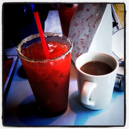 Bloody Mary and cup of coffee