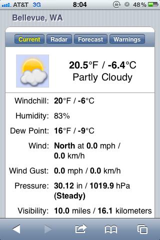 screen capture of weather in Bellevue, WA