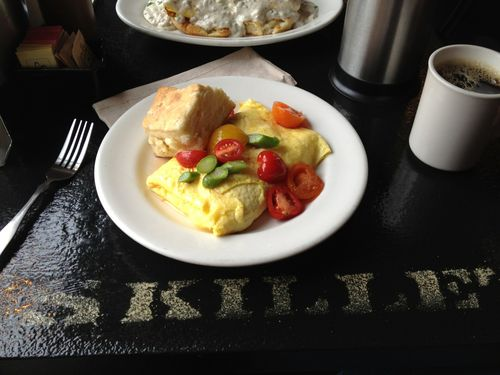 Crab and asparagus omelet at Skillet.