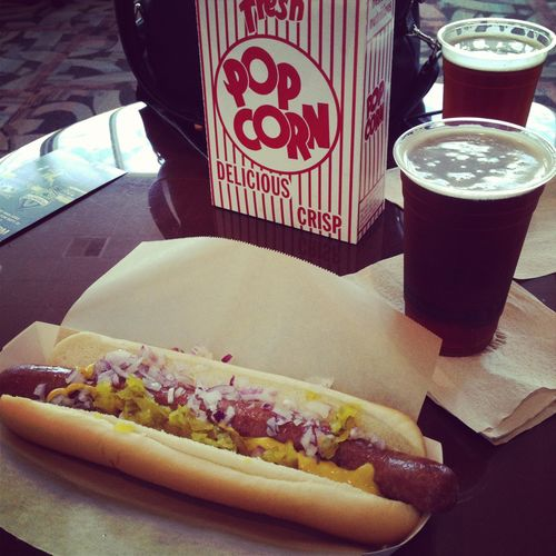 Foot-long hot dog, box of popcorn, a couple of beers. Must be game day!