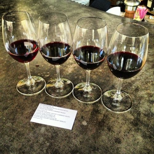 Salud! (Wine flight at Purple Cafe & Wine Bar)