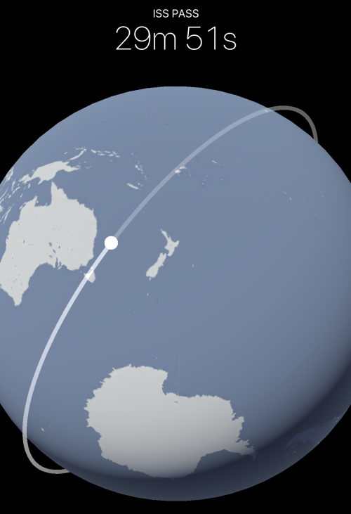 ISS flyover notification, at ~30 min away it's still over Australia and New Zealand!