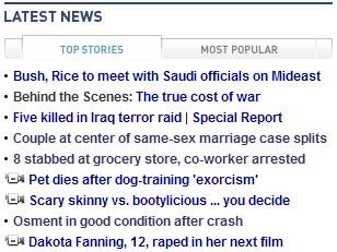 CNN.com screen capture shows tasteless headline about Dakota Fanning's latest film role