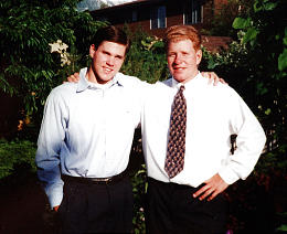 Brandon Wood and Mark sport missionary attire in 1995. Mark was sent home early from his mission to Canada for disciplinary reasons