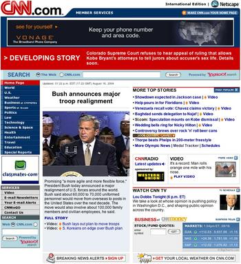 CNN.com home page with breaking-news or developing-story header