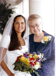 Bride Lori Hacking smiles with her mother, Thelma Soares. Her parents, who divorced when Lori was in fifth grade, were both elated at her marriage to Mark