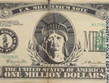Close-up of false $1 million bill