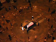 Ronald Reagan lies in state in the Capitol Rotunda